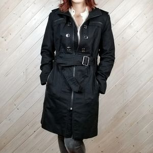 Kenneth Cole | Black Zipper Trench Coat